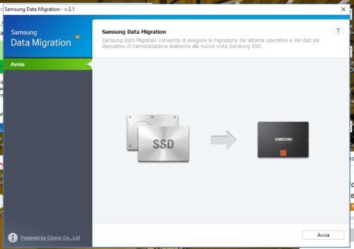 3 - Inizio del processo di clonazione dei dati dal vecchio Hard disk al nuovo SSD